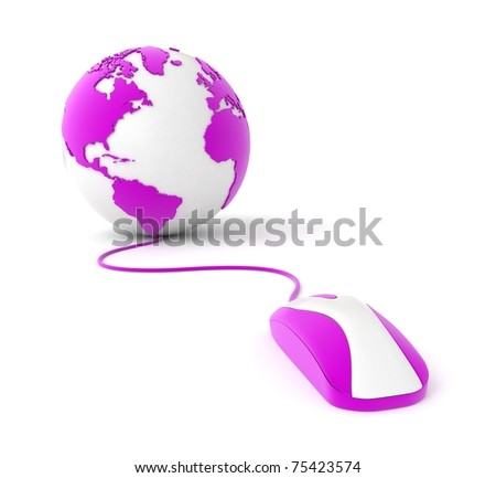 3d purple earth globe with pc mouse