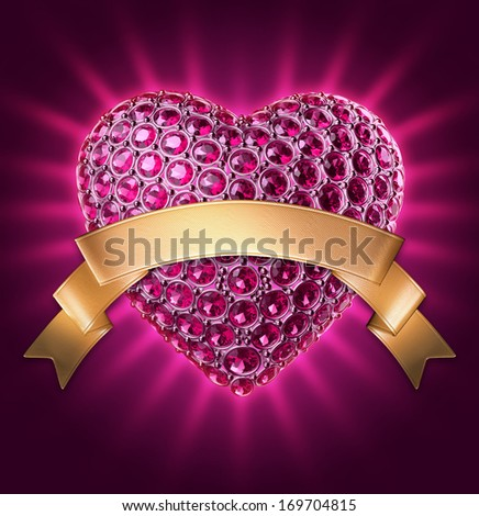 3d purple glowing jewelry heart with gems and crystals, gold ribbon tag, Valentines day clip art