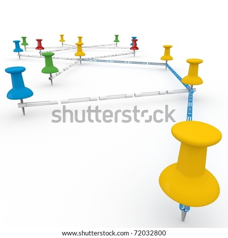 3d push pins interconnected  network concept isolated on white