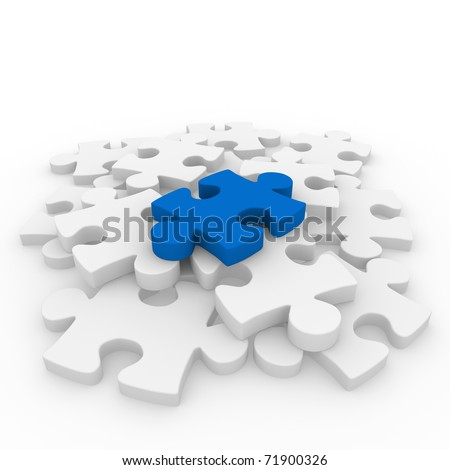 3d puzzle blue white success connection piece business