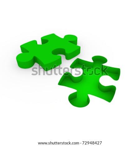 3d puzzle green white success connection piece business