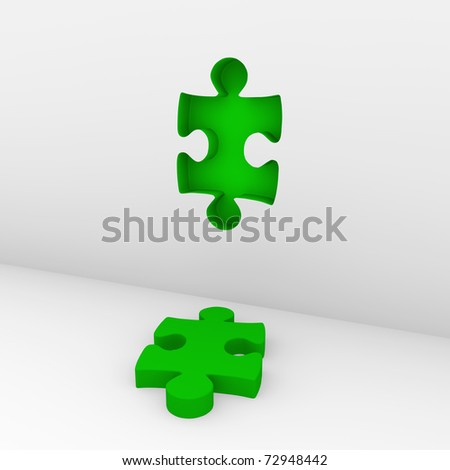 3d puzzle green white success wall piece business