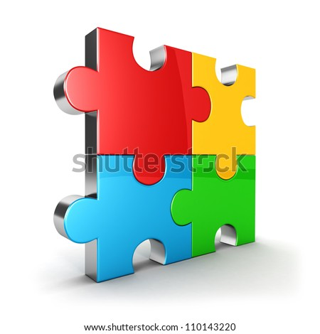 3d puzzle icon, four color puzzle piece, isolated background, 3d image