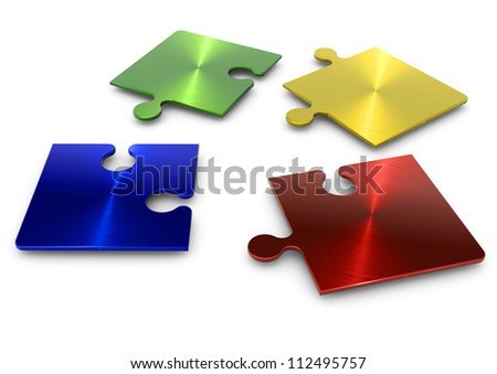 3d puzzle in four separate pieces of different colors