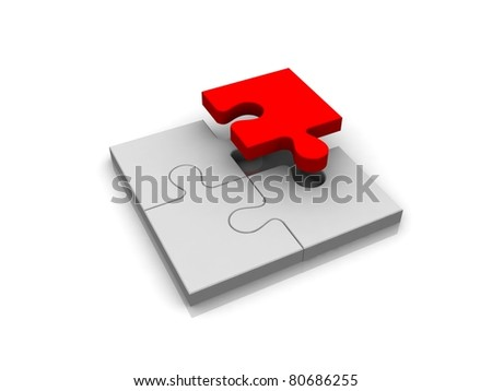 3d puzzle isolated on white