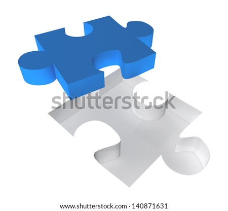 3D puzzle piece on a white background. Great business concept