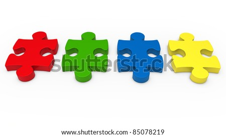 3d puzzle piece series red green blue