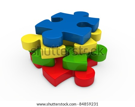 3d puzzle red green yellow blue successive