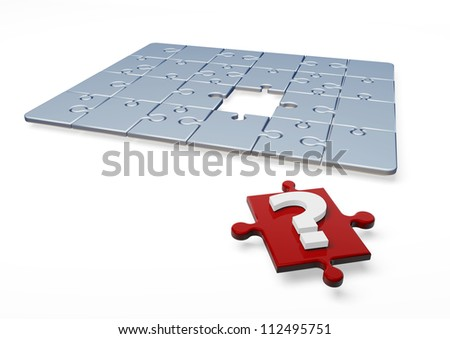 3D Puzzle with question mark in one piece - stock photo