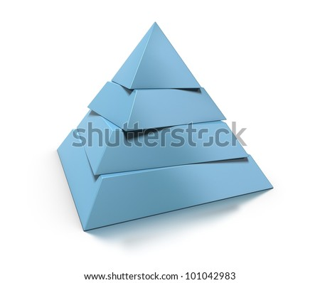 3d pyramid, four levels over white background with glossy reflection and shadow