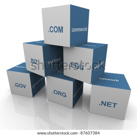 3d pyramid of popular domain name extensions