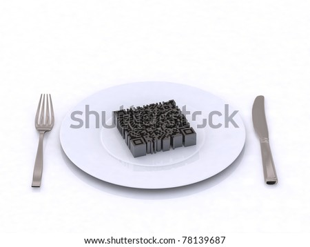 3d qr barcode on the plate