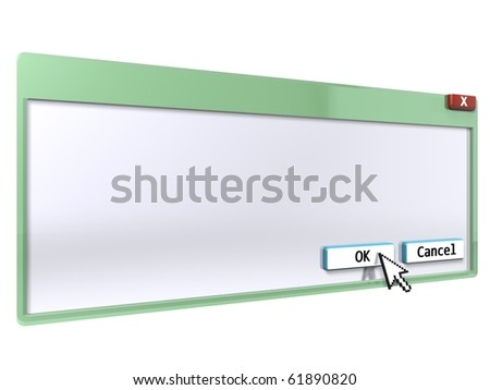 3D query window (blank background) - stock photo