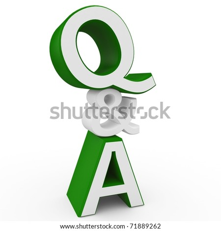 3d question and answer sign isolated on white