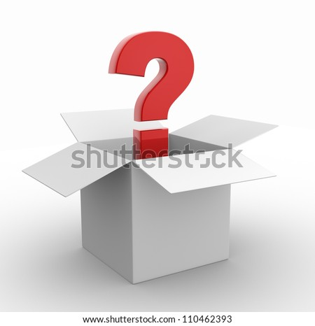 3d question mark in a box.