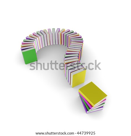 3d question mark made up of books