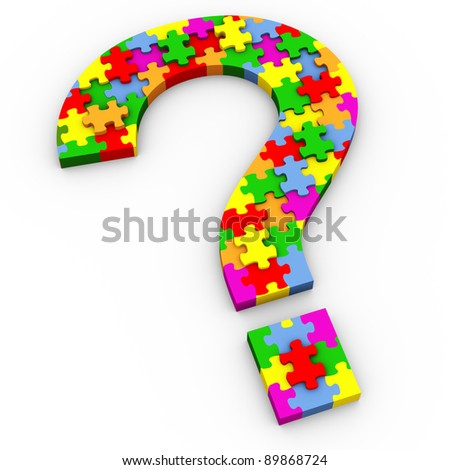 3d question mark symbol made of colorful puzzle pieces - stock photo
