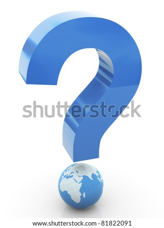 3d question mark with globe