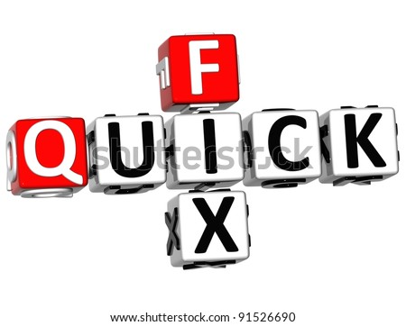3D Quick Fix Crossword on white background
