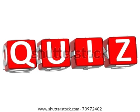 3D Quiz Cube text on white background