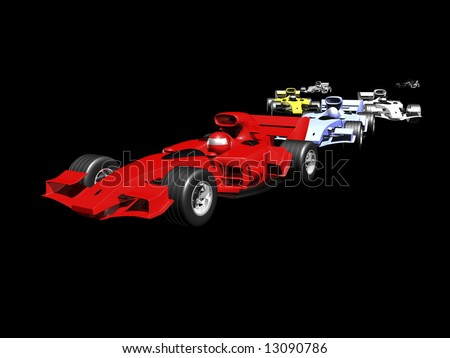 3D race cars lined up on black background