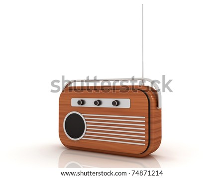 3D radio in a white background