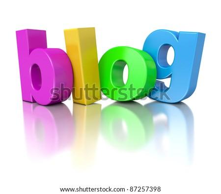 3d rainbow text blog isolated on mirror floor