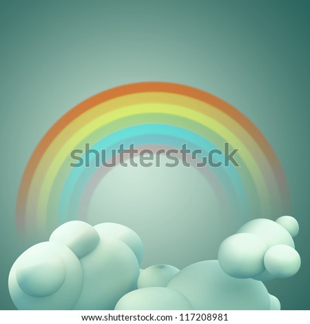3D Rainbow with cloud, Abstract background
