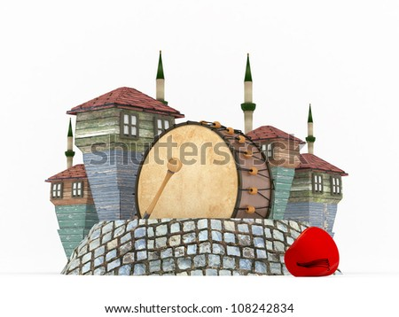 3D Ramadan Drum in Muslim neighborhood-isolated