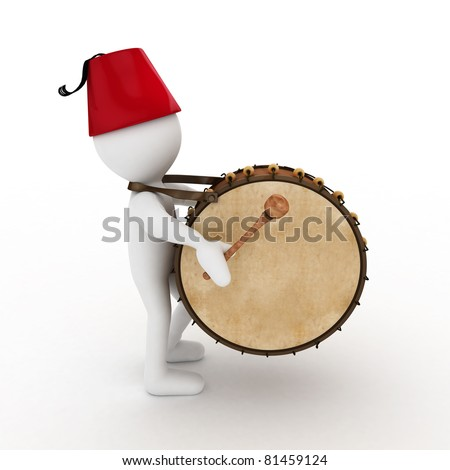 3D Ramadan drummer isolated