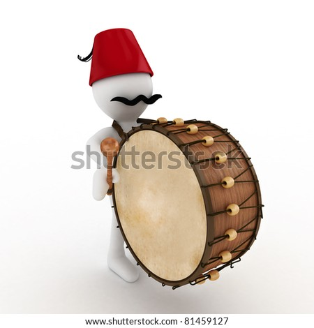 3D Ramadan drummer isolated