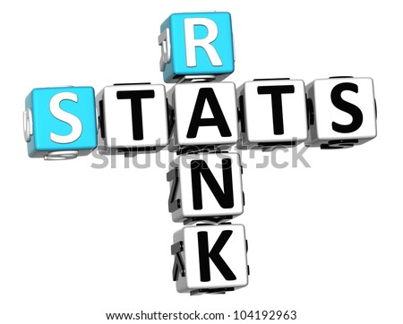 3D Rank Stats Crossword on white background