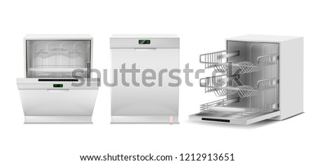 3d realistic dishwasher with open, closed door, digital display. Front, side view of dishwashing machine isolated on white background. Modern household appliance for washing utensil, dishware