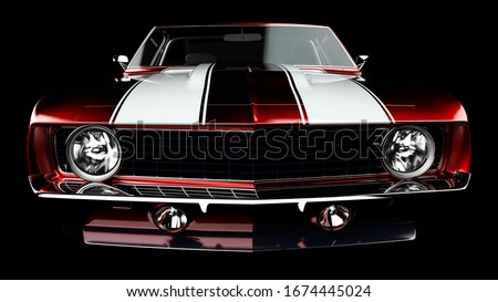 3D realistic illustration. Muscle red car rendering isolated on black background. Vintage classic sport car. Car show. Wheels. Bumper. Front perspective view. Chevrolet camaro headlights