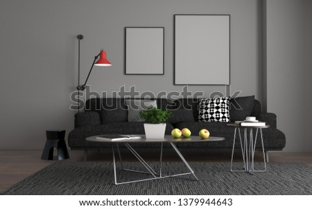 3D Realistic Mockup of living room Inerior #1379944643
