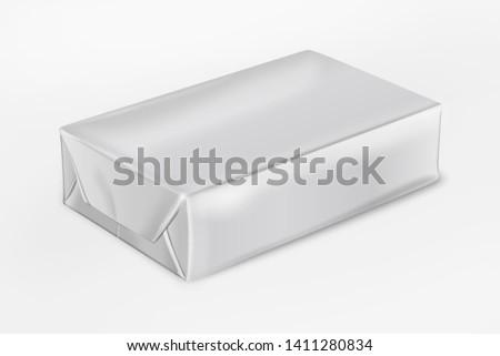 3D realistic render of isolated paper wrap box with shadow,(butter, spread, soap mock up) on white background. 3d rendering - Illustration
