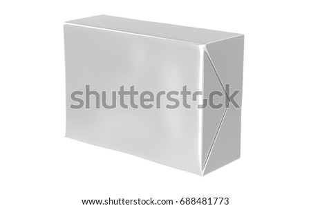 3D realistic render of isolated paper wrap box with shadow,(butter, spread, soap mock up) on white background.
