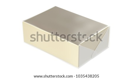 3D realistic render of isolated plastic transparent wrap box with shadow,(butter, spread, soap mock up) on white background.