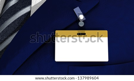 3D realistic render with colored blank badge on a business man suit