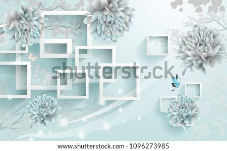 3D Rectangular abstraction background wallpaper.
