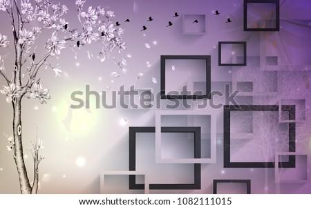 3D Rectangular abstractions background wallpaper.