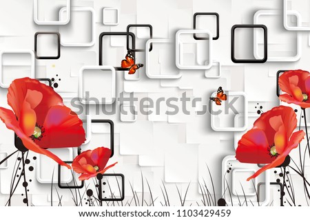 3D Rectangular background with red flowers.