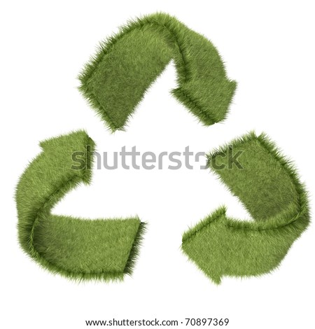 3D recycling symbol in grass texture ? isolated over a white background - stock photo