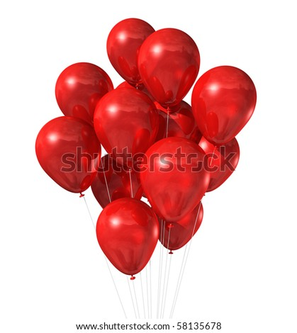 3D red air balloons floating isolated on white