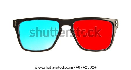 3d red and blue glasses isolated on white background #487423024