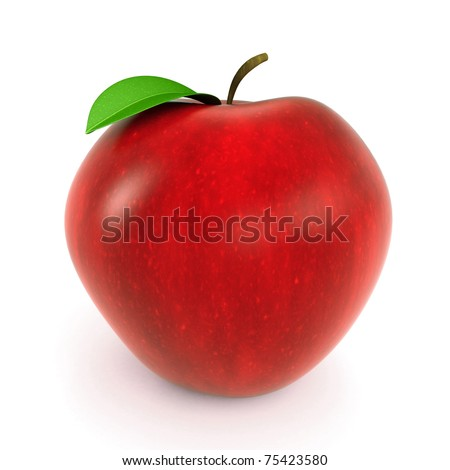 3d red apple rendered on white background