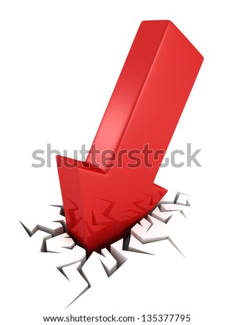3d red arrow business crash concept in crack hole
