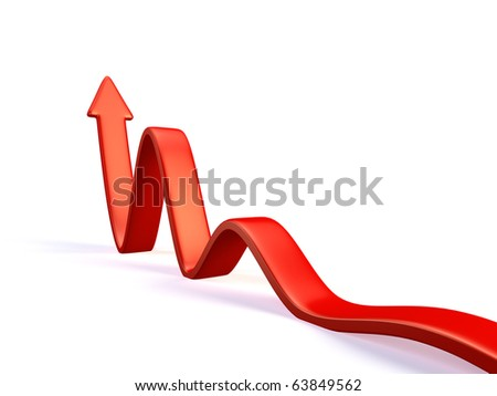 3d red arrow in business graph