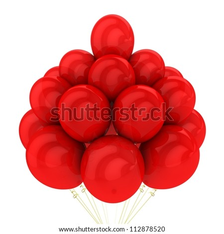 3d red balloons