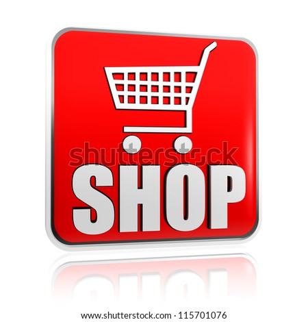 3d red banner with shopping cart sign and text shop, business concept